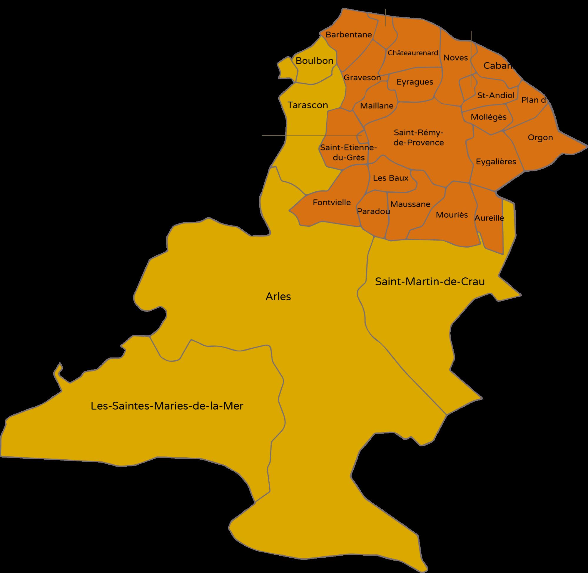 Carte intercommunalité de Delta Sud Formation sur le Pays d'Arles
