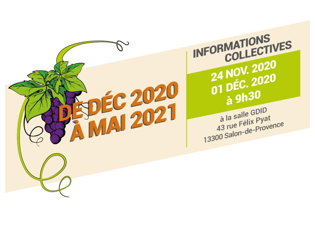 Bandeau avec la période de formation Ouvrier Polyvalent Agricole 2020-2021 et les dates d'informations collectives