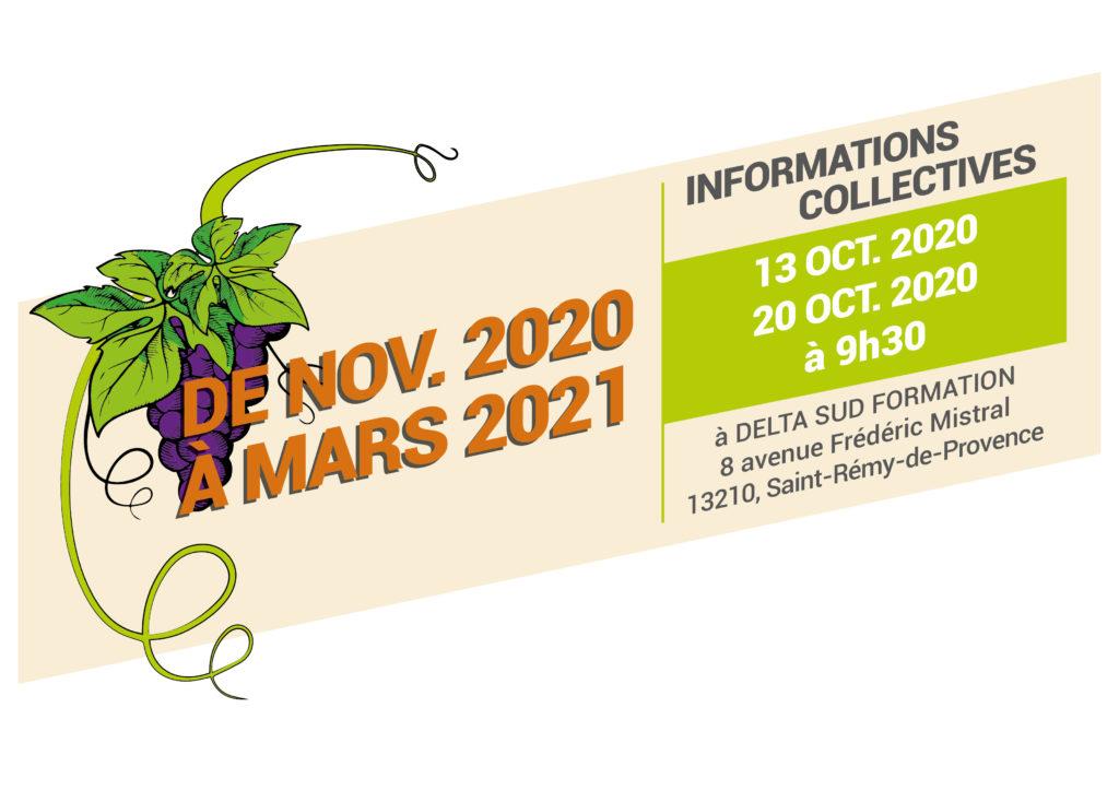 Bandeau avec la période de formation Ouvrier Polyvalent Agricole 2020-2021 à St Rémy et les dates d'informations collectives à Saint-Rémy-de-Provence